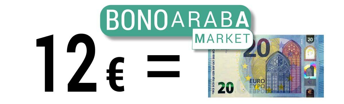Cada Bono Araba Market te cuesta 12 € y disfrutas de 20 € de compras